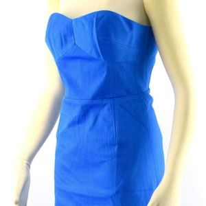 TED BAKER Dress Blue ALODIA Strapless Cotton Midi